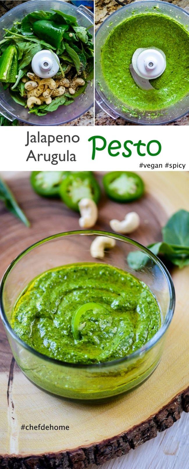 Spicy Vegan Green Pesto Pasta Sauce | Jalapeno Arugula Pesto Sauce | chefdehome.com