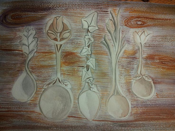 #watercolour #spoon #wood