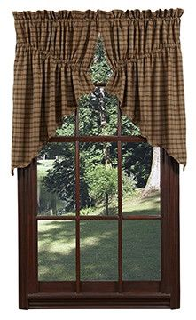 Our Barrington Scalloped Lined Prairie Swag Curtains are charming and will bring a primitive country look to any room in your home. https://www.primitivestarquiltshop.com/products/barrington-scalloped-lined-prairie-swag-curtains #countrystylecurtains