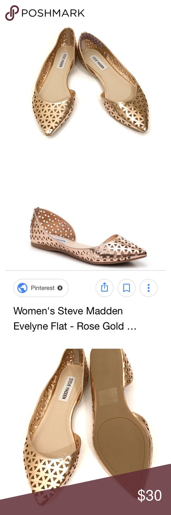 Steve Madden Evelyne flats in rose gold 7 Steve Madden Evelyne flats in rose gold 7. The lighting in my house makes this look just gold but they are the rose gold color of the professional pic. NWOB. Steve Madden Shoes Flats & Loafers