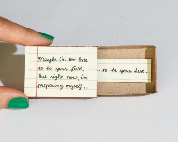 Cute Romantic Love Card Matchbox Gift box / Message box/ I want to be be your last