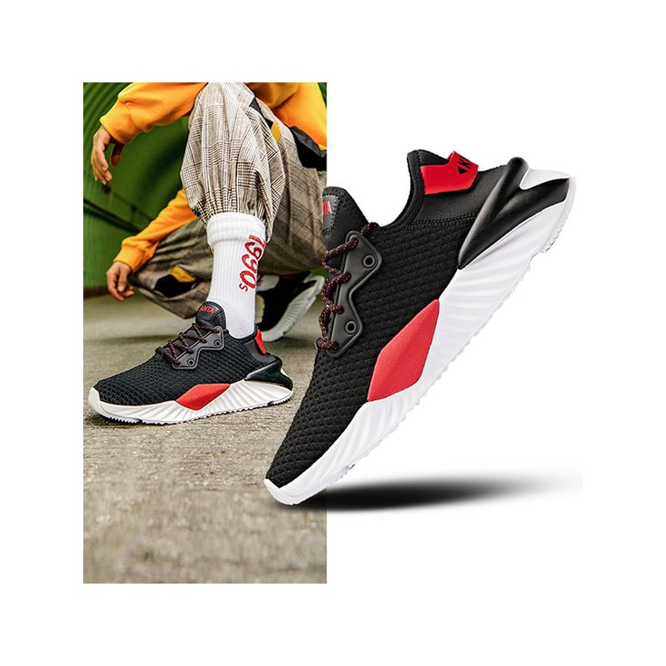 Anta 2019 Men's Black/Red Retro Walker Shoes | Casual Daddy Sneakers