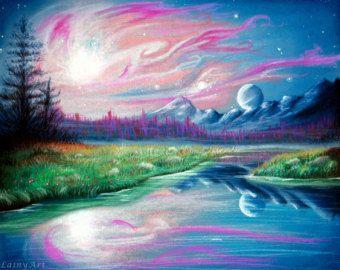 Berglandschap, bos, aangepaste landschap tekening - zachte Pastels - 8 x 10 - realistische Hand getrokken fine art - ruimte kunst, fantasie landschap