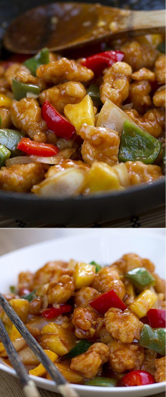 Pollo agridulce, un plato muy rico y conocido de la cocina China. #PolloAgridulce #CocinaChina #CocinaAsiática Ver la receta completa: http://www.cocinothai.com/pollo-agridulce/: