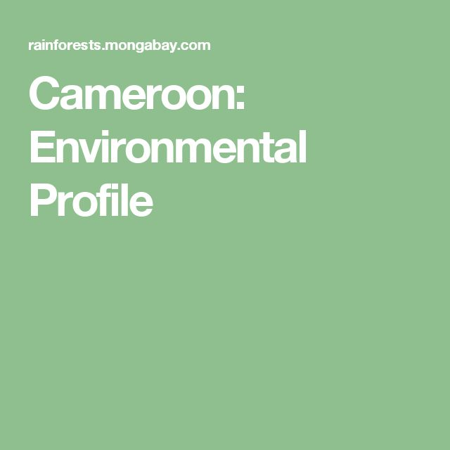 Cameroon: Environmental Profile