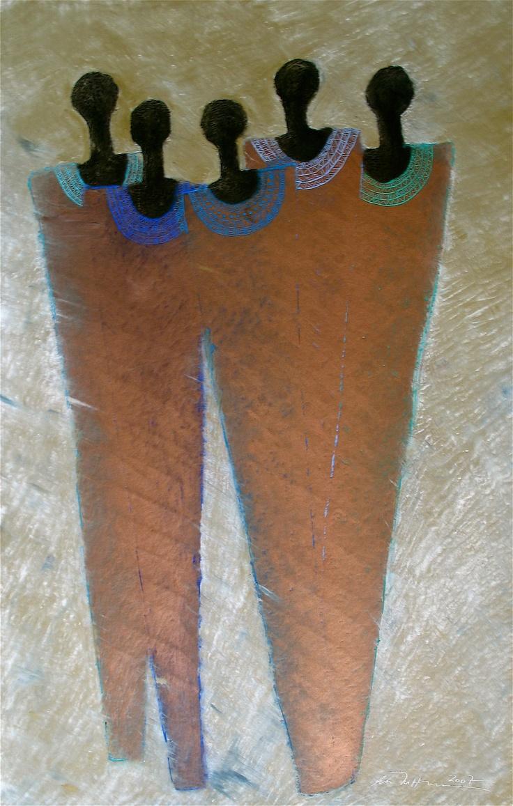 Åse Margrethe Hansen/Utflukt, 2007. Oil pastel on paper