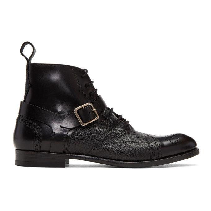 Alexander McQueen - Black Buckle Brogue Boots