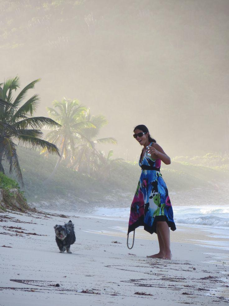 Walking the dog at Long Bay, BVI