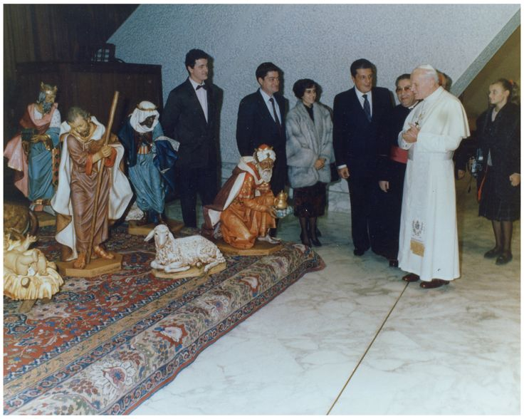 "Pope John Paul II with the Fontanini Family and 50"" Nativity Set."