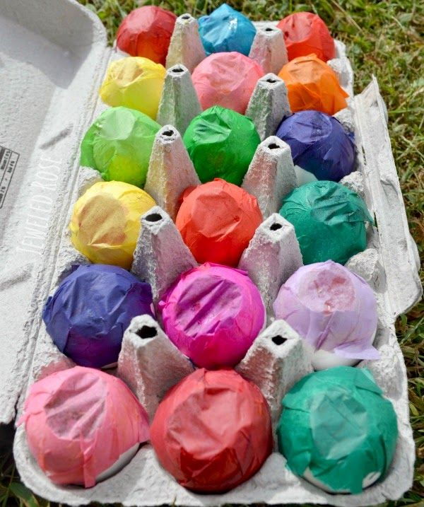 Paint filled eggs- toss them at canvas for a super fun art project kids LOVE!