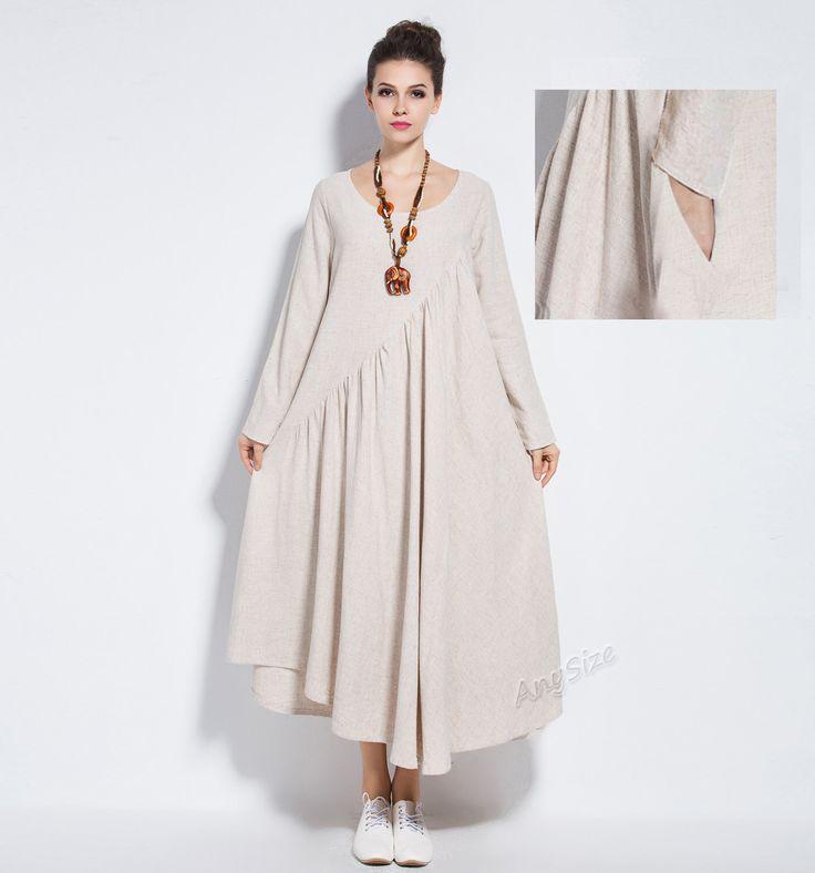 Anysize NEW VERSION with sides seam pockets vogue linen&cotton maxi dress plus size dress plus size clothing spring summer dress Y66 by AnySize on Etsy https://www.etsy.com/uk/listing/201364495/anysize-new-version-with-sides-seam