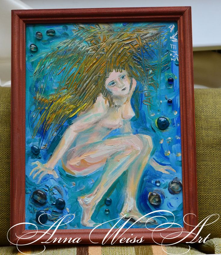 Original Oil Painting mermaid nude girl abstract small art russian artist glass beads handmade bright blue depth ocean sea theme canvas by AnnaWeissArt on Etsy