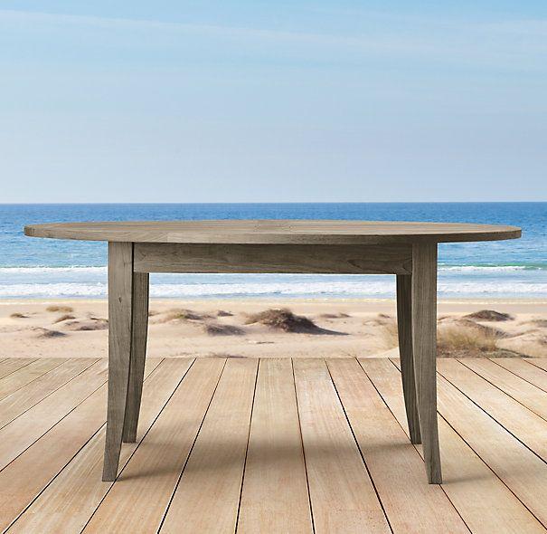 Santa Barbara Round Dining Table In Weathered Teak