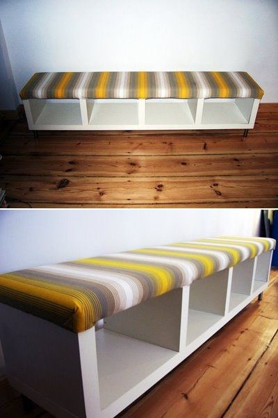 I bet a assemble on your own bookcase is way cheaper than a bench  wrap one side with cushy foam and fabric first!