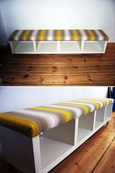 """Conçu à partir d'une """"Expedit"""" d'Ikea, j'aime bien ce banc."""
