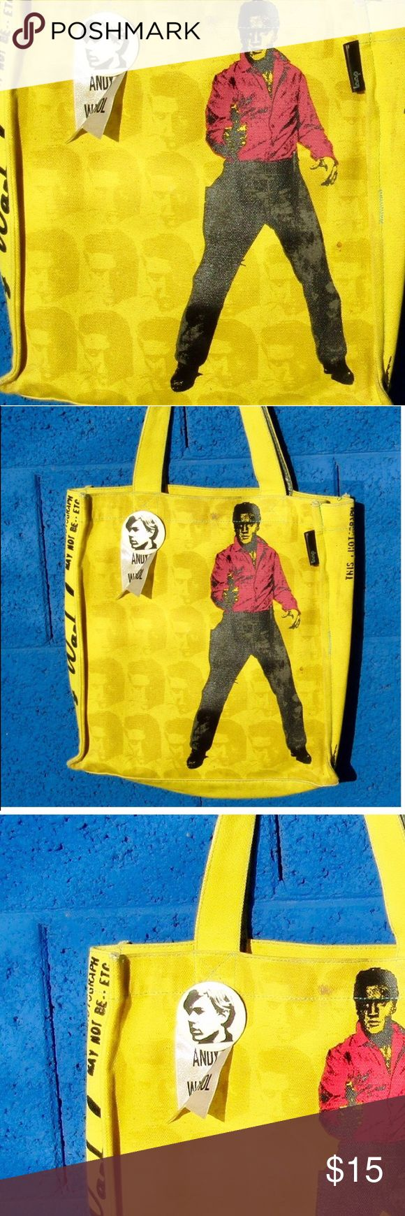 Andy Warhol tote Big yellow bag, perfect condition. Come with chain coin purse. Thick canvas material loop Bags Totes