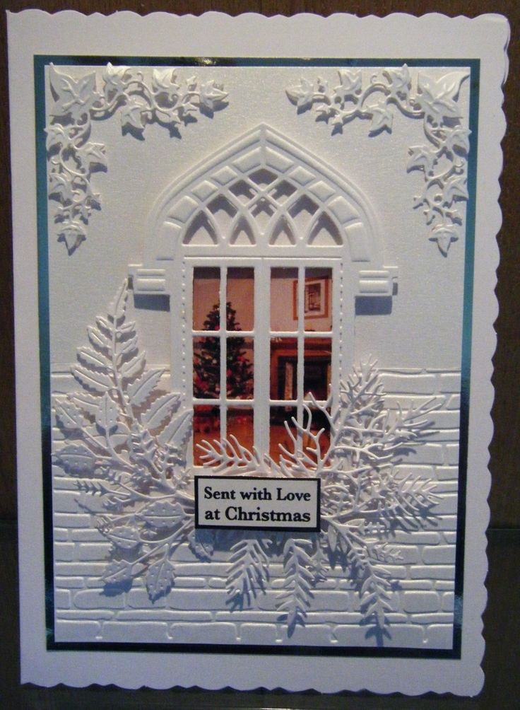 White on White Christmas Card. Used, white pearlised card, new spellbinder brick embossing folder, Marianne window frame CR1259, Marianne Ivys Corner - CR1253 and a selection of tattered lace leaves.