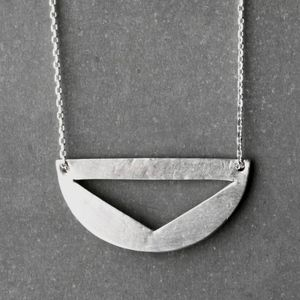 Geometric Pendant Necklace Recycled Silver