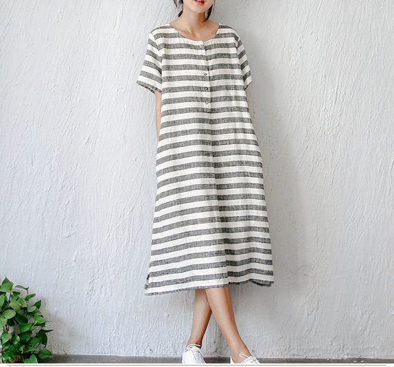 Summer women's vintage elegant fresh loose stripe linen one-piece dress