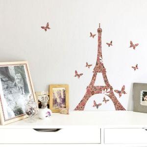 Sticker Tour Eiffel fleurie Toile de Jouy