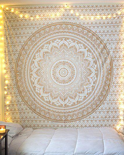 """Esclusivo """"Golden Ombre Tapestry da raajsee"""" Ombre biancheria da letto, Mandala Tapestry, Regina, multi colori indiana Mandala Wall Art Hippie Wall Hanging Bohemian copriletto"""
