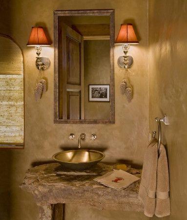 Me encanto este baño rustico