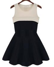 Stitching Pleated Slim vest skirt dress