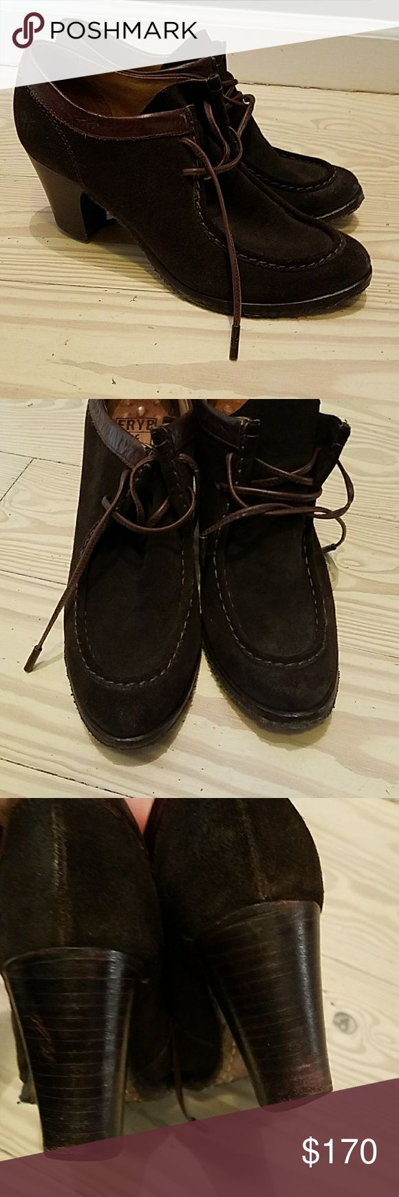 FRYE  LACE UP BOOTIE ankle boots brown suede 8.5 Gently worn  Good condition  Brown sued  8.5 Frye Shoes Ankle Boots & Booties