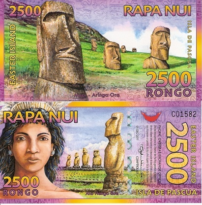 Beautiful Colorful Easter Island Bank Note.