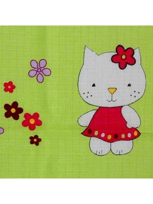 Pielucha tetrowa 70/80cm Zielona z wzorem Hello Kitty  • zielona • z modnym wzorem • szerokość 70 cm • długość 80 cm