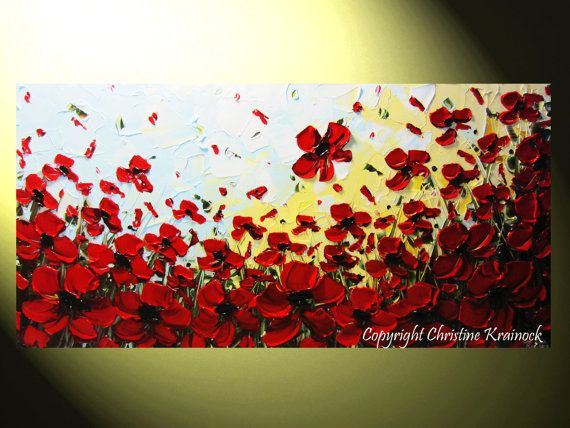 CUSTOM For KIM Art Abstract Painting Red Poppy Flowers Textured Poppies XL Modern Palette Knife Landscape Floral Wall Decor 30x60 -Christine