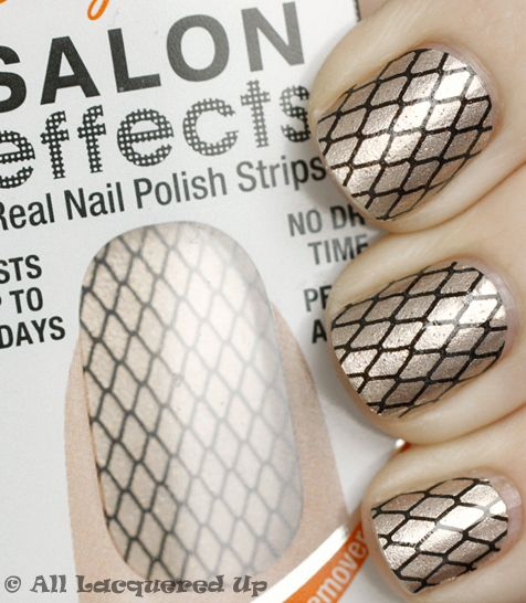Sally Hansen Salon Effects in MisbehavedHansen Salons, Polish Strips, Strips Nailpolishobsess, Halloween Makeup, Sally Hansen, Makeup Ideas, New Nails, Nails Polish, Fishnet Nails