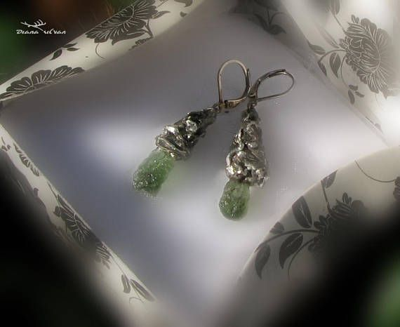 Raw Moldavite earrings Dropped from Stars Raw
