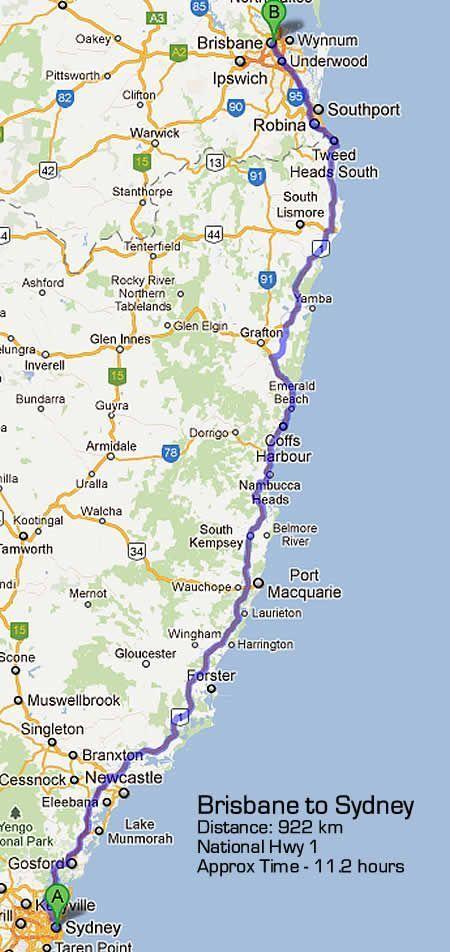 East Coast Australia Road Map.Sydney To Brisbane Road Map Via Pacific Highway Total Kilometres