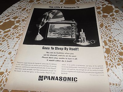 VINTAGE ADVERTISING PANASONIC TELEVISION TV GOES TO SLEEP BY ITSELF 1950'S