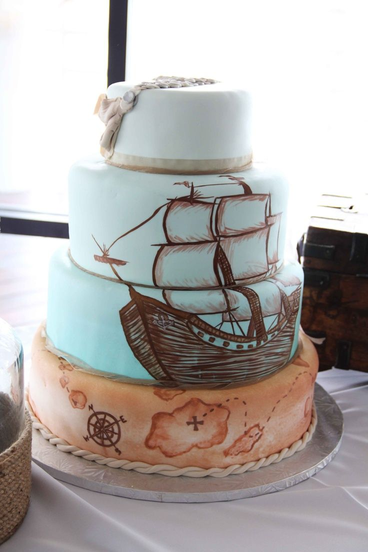 Like, Repin, Comment ;) pirate ship wedding cake for beach wedding Like, Repin, Comment, if you like it ;)