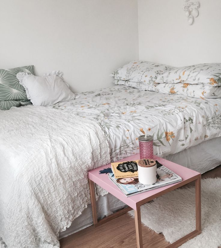 floral bedding, simple, small space, bedside table, bedroom, home, interior
