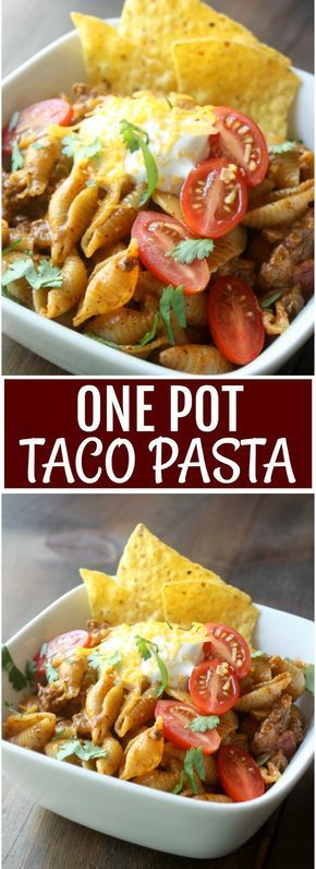 Cheesy beefy taco pasta is what's for dinner. Kids love this One Pot Taco Pasta recipe so be sure to put on this week's menu.