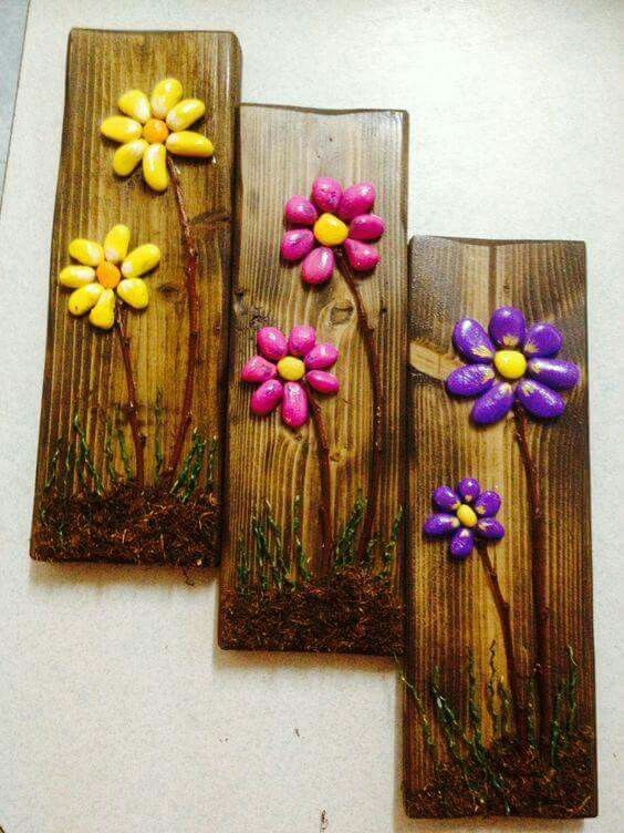 Bright colored rocks transformed into flowers