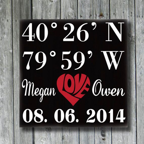 Personalized Wedding SignGPS by doudouswooddesign on Etsy, $30.00