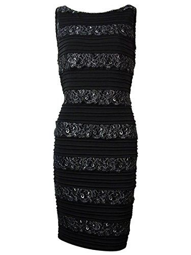 Calvin Klein Women's Tiered Lace V-Back Jersey Dress (6, Black)