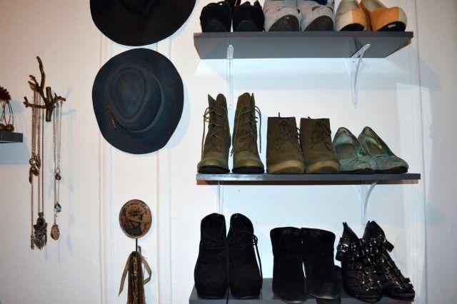 shoe shelves: Fun Diys, Loft Styles, Storage Idea, Apartment Tours, Shoe Storage, Budget Friendly Apartment, Diy Decor, Shoe Shelves, Shoe Shelfs