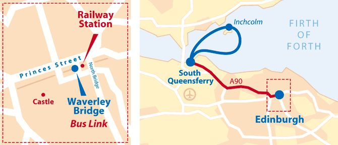 Map showing bus tour and cruise routes between Waverley Bridge, Edinburgh and South Queensferry