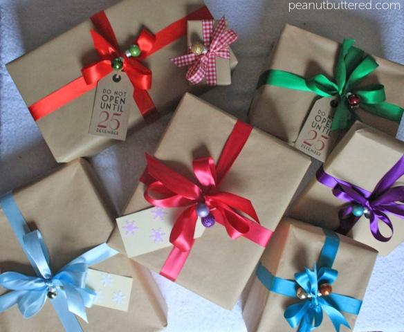 christmas gift wrap inspiration: kraft paper, jewel ...