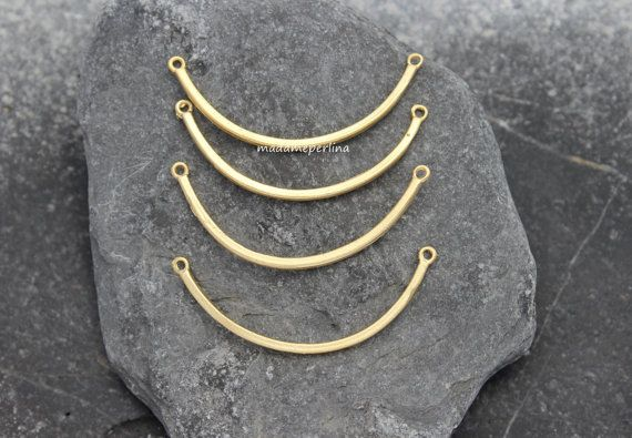 4    curved bar connector pendant 22k Matte Gold by madameperlina