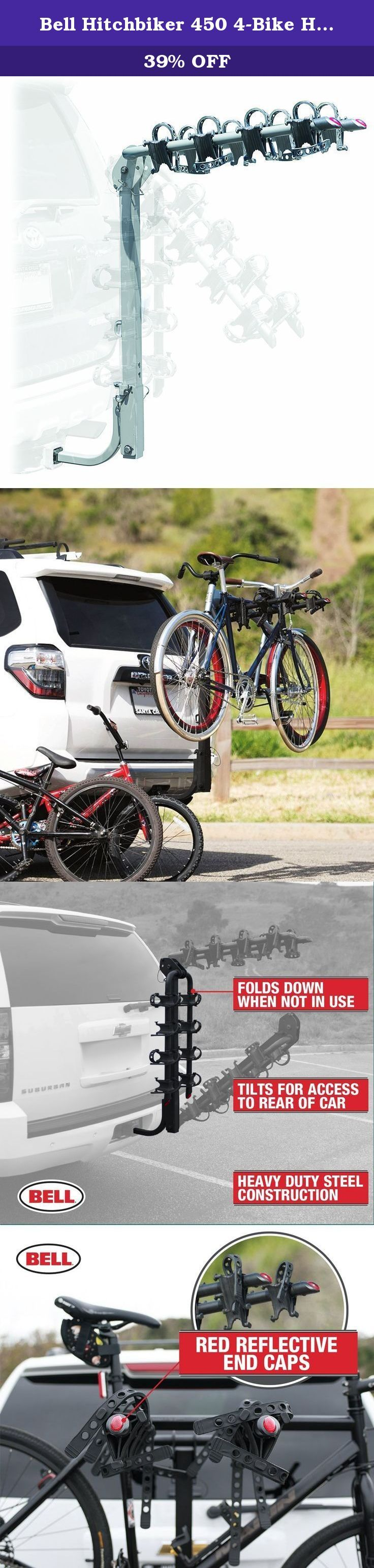 Bell Hitchbiker 450 4-Bike Hitch Rack with Stability. The Bell Hitchbiker 450 is a premium folding hitch rack, now with bike stability. Soft stability cradles keep bikes secure and separated so they don't scratch each other or the car.