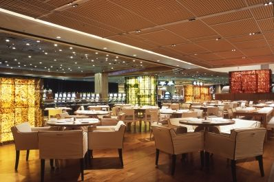 """""""Wolfgang Puck Bar & Grill in the MGM Grand modernizes the traditional 'bar and grill' concept with approachable fine dining in a magnificent setting. Located adjacent to the Cirque du Soleil 'KA' theater."""""""