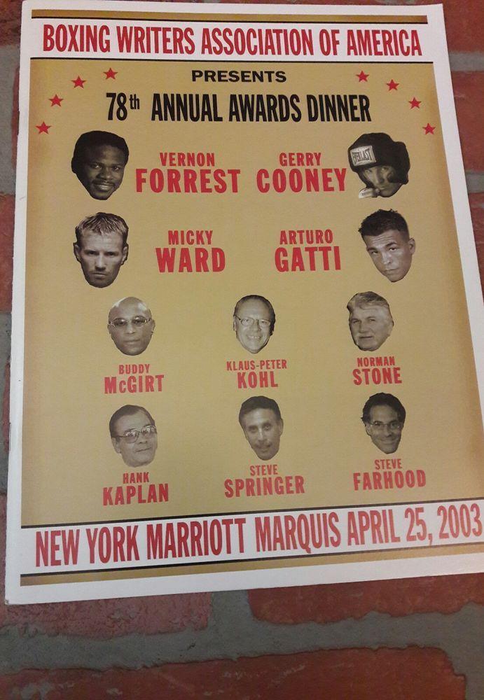 78th ANNUAL BOXING WRITERS Dinner PROGRAM Arturo Gatti Micky Ward April 25, 2003