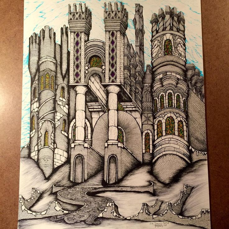 """Z A C K E A S L E Y on Instagram: """"Done! """"Sir Jason's Castle"""" named for a fellow #brickmason and #follower whom I consider my good Instagram #friend What do you think? #art #arts #brick #brickartistzack #create #design #details #drawing #fineart #ink #intricate #idrawcastles #illustration #medieval #mansion #ornate #oklahoma #artist #zackeasley #oldworldstyle #pen #penandink #realism #turret @jazzyjay656 #archisketcher"""""""