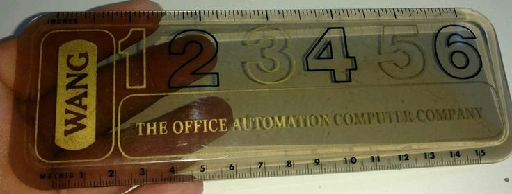 """Vintage WANG  6"""" Ruler - Clear Plastic - Office Automation Computer Company"""